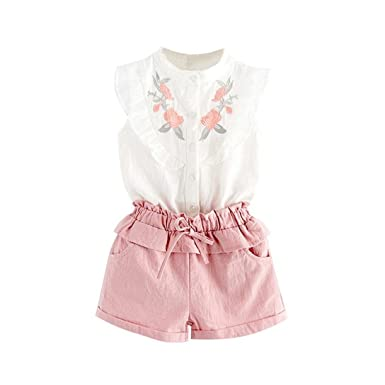 0fd19699f00 FeiliandaJJ Girls Clothes Set, Toddler Girl Summer Cute Flower Embroidery  Sleeveless T-Shirt Tops Shorts Pants Set Outfits