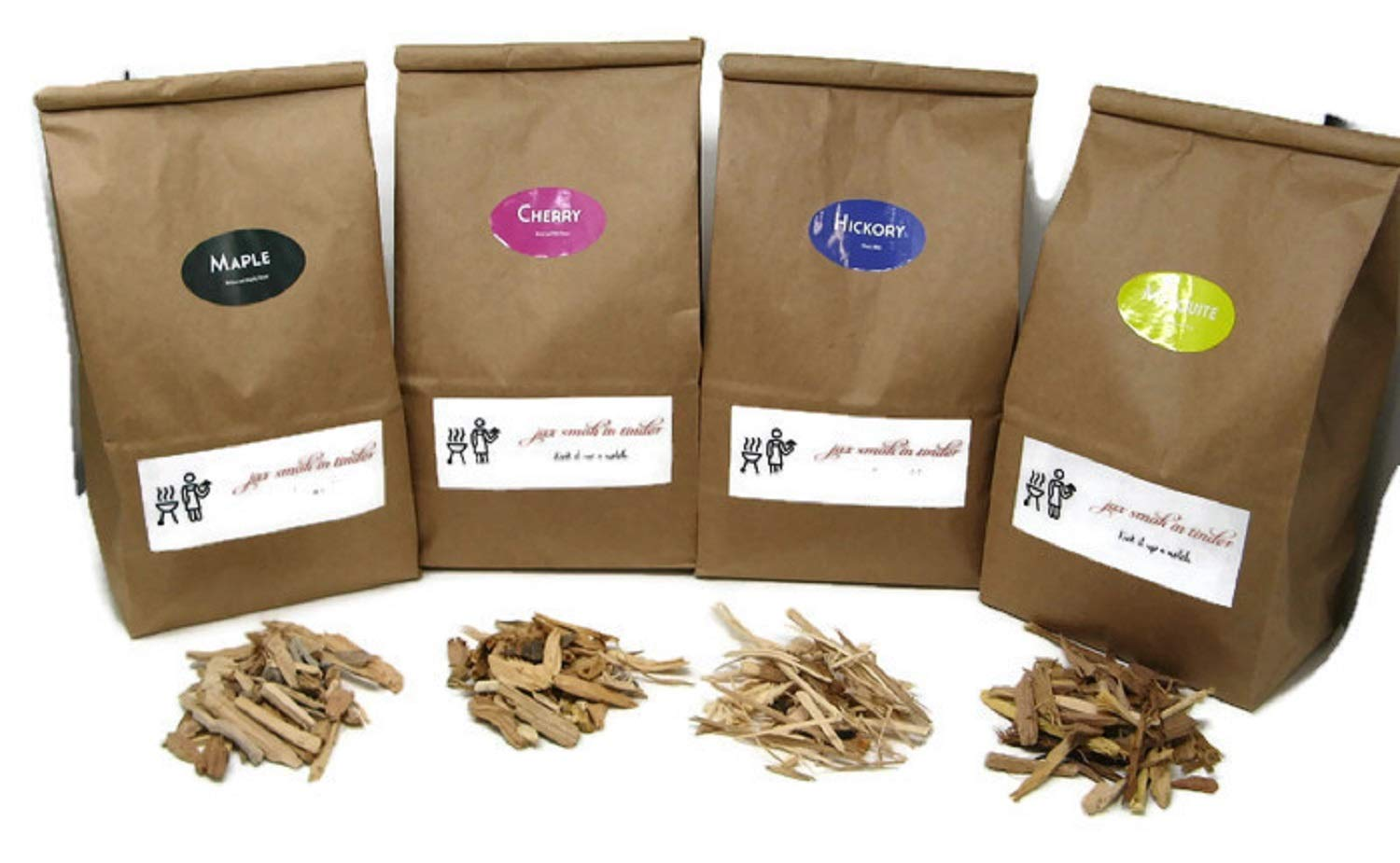 Jax Smok'in Tinder Premium BBQ Wood Chips for Smokers Variety Pack - Our Most Popular Medium Sized Smoker Chips - Hickory, Cherry, Mesquite and Maple Packed in 2.90 Liter Paper Bags by Jax Smok'in Tinder