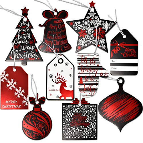 - 120 Christmas Gift Tags with Ribbon Tie Strings Attached 10 Elegant Red Foil Black & White Designs Personalized Holiday Name Tag Labels Write On to and from for Gift Bags Wrapping Presents & Packages