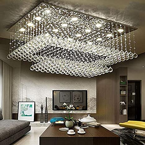 Amazon Com Siljoy Modern Contemporary Crystal Rectangular Chandelier Flush Mount Ceiling Lighting Fixture For Living Room Height 14 X Length 36 X Width 24 Home Improvement