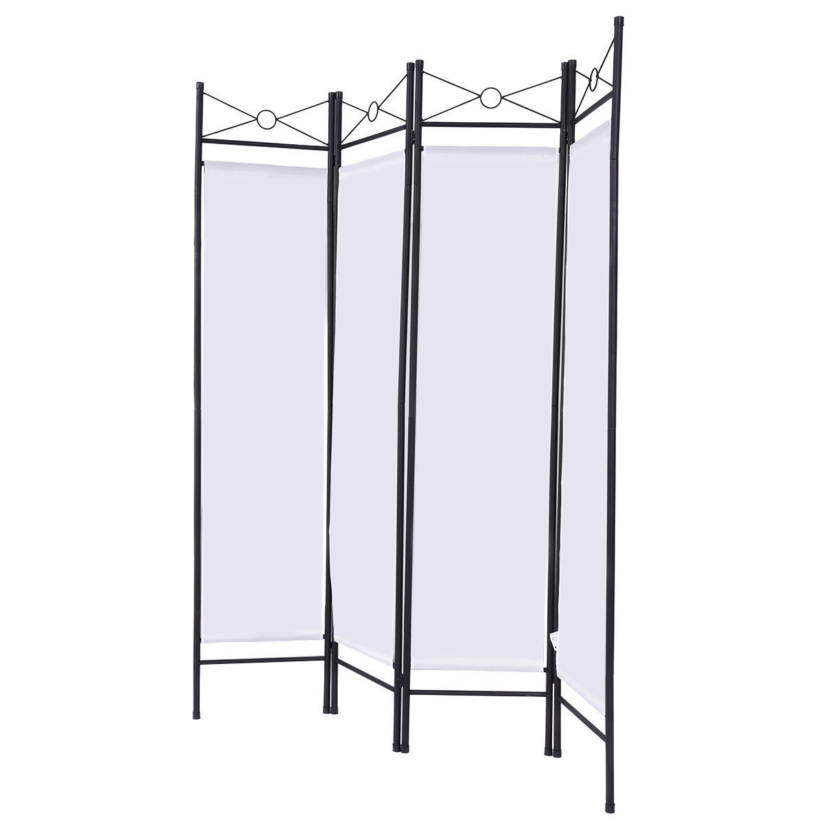 White 4 Panel Room Divider Privacy Folding Screen Home Office Fabric Metal Frame + FREE E - Book by White Bear & Brown Rabbit (Image #3)