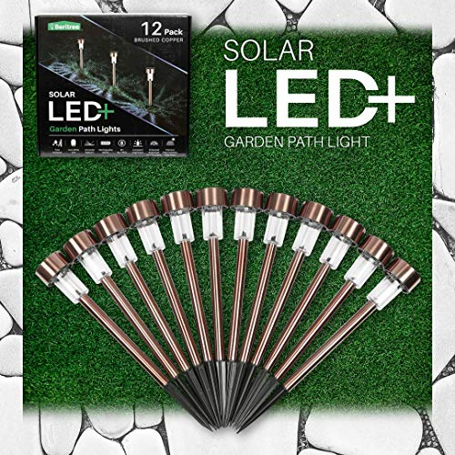 Copper Finish Landscape Light - Outdoor Solar Lights Landscape Lighting: Deluxe 12 Pack Brushed Copper Solar Powered LED Patio Lights - Outside Pathway Deck Garden or Home Security Driveway or Backyard Path Light for Lawn or Walkway