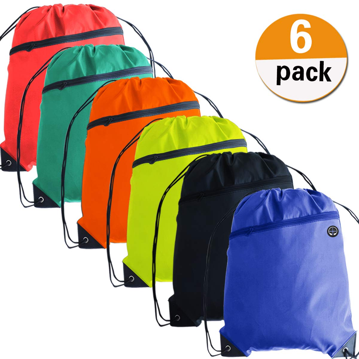 Youyuan 6 Colors Drawstring Backpack Sack Pack Large Size with Zipper Cinch Pack Tote Kids Adults Storage Bag for Gym Traveling