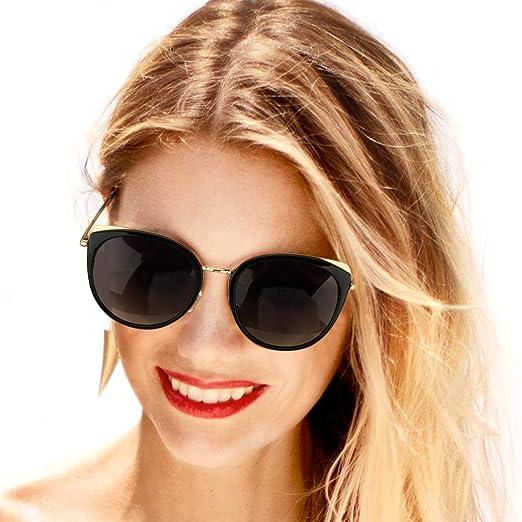 Glasses Polarized Womens Ladies Designer Celebrity Sunglasses Cat Eye ROUND NEW