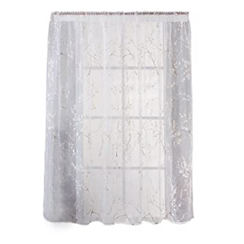 Lovely Demiawaking Kalk Pflaumen Blüten Vorhang Gardine Transparent Balkon  Schlafzimmer Dekoration (Weiß)
