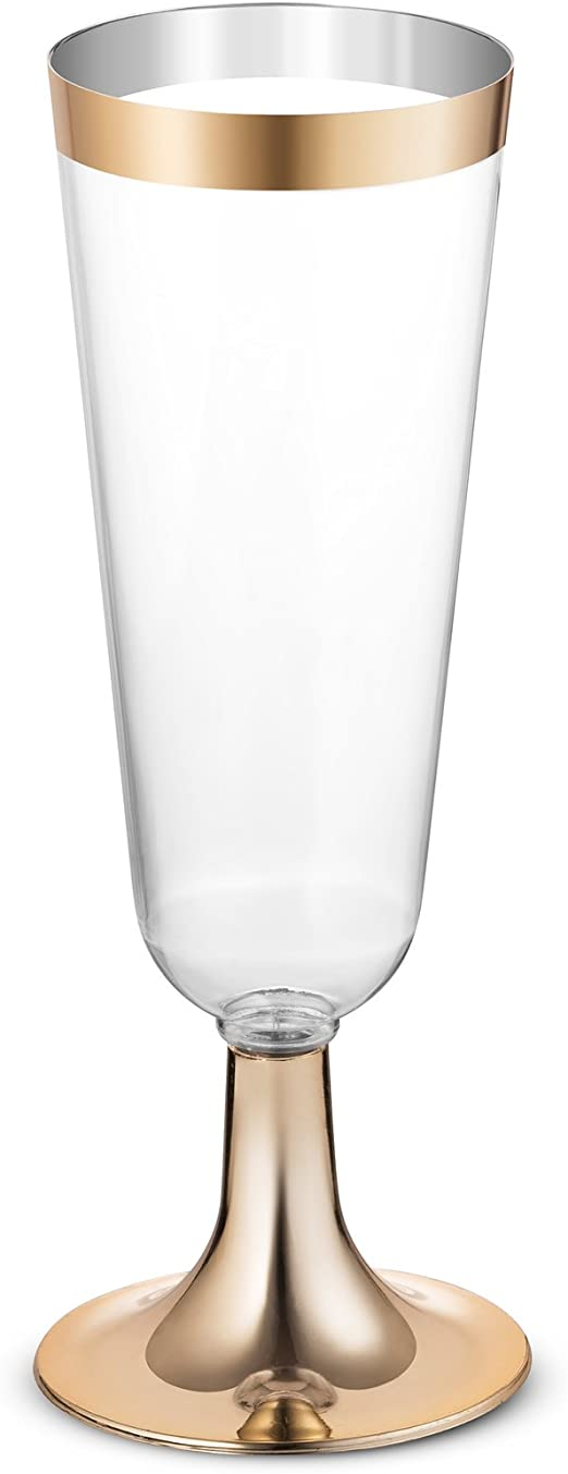 96-Pack 5.5-Ounce Champagne Flutes Disposable Clear Plastic Cups Fancy Premium Heavy Duty Crystal-Like Party /& Wedding