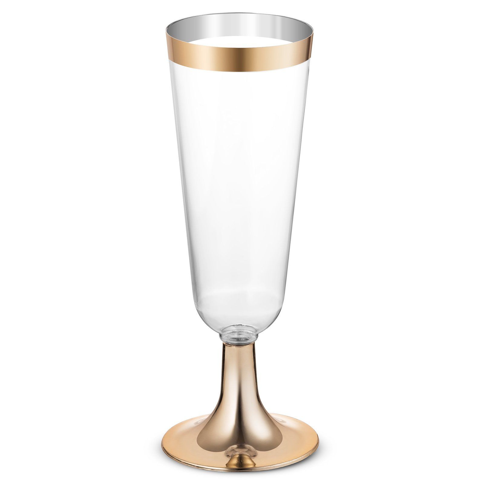 50 Plastic Gold Rimmed Champagne Flutes   5.5 oz. Clear Hard Disposable Party & Wedding Glass   Premium Heavy Duty Fancy Cup (50-Pack) by BloominGoods by BloominGoods