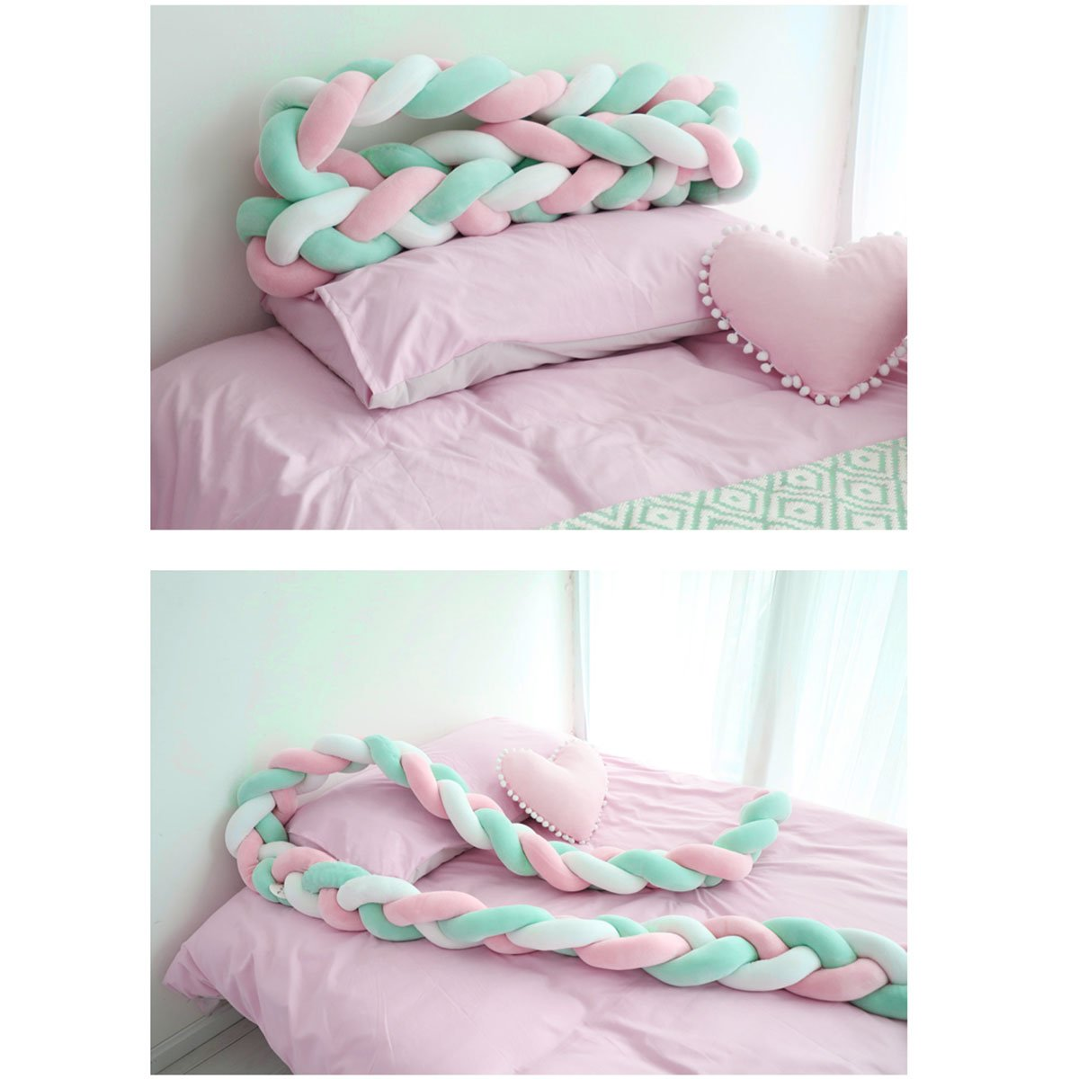 CHICTRY Baby Crib Bumper Knotted Braid Weaving Protective Pillow Infant Toddlers Bed Sleep Bumper Plush Nursery Cradle Crib Protector Cushion Baby Shower Gift Pink&Green 80 inches