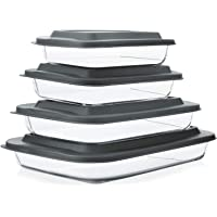 8-Piece Deep Glass Baking Dish Set with Plastic lids,Rectangular Glass Bakeware Set with BPA Free Lids, Baking Pans for…
