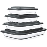 8-Piece Deep Glass Baking Dish Set with Plastic lids,Rectangular Glass Bakeware Set with BPA Free Lids, Baking Pans for Lasagna, Leftovers, Cooking, Kitchen, Freezer-to-Oven and Dishwasher, Gray