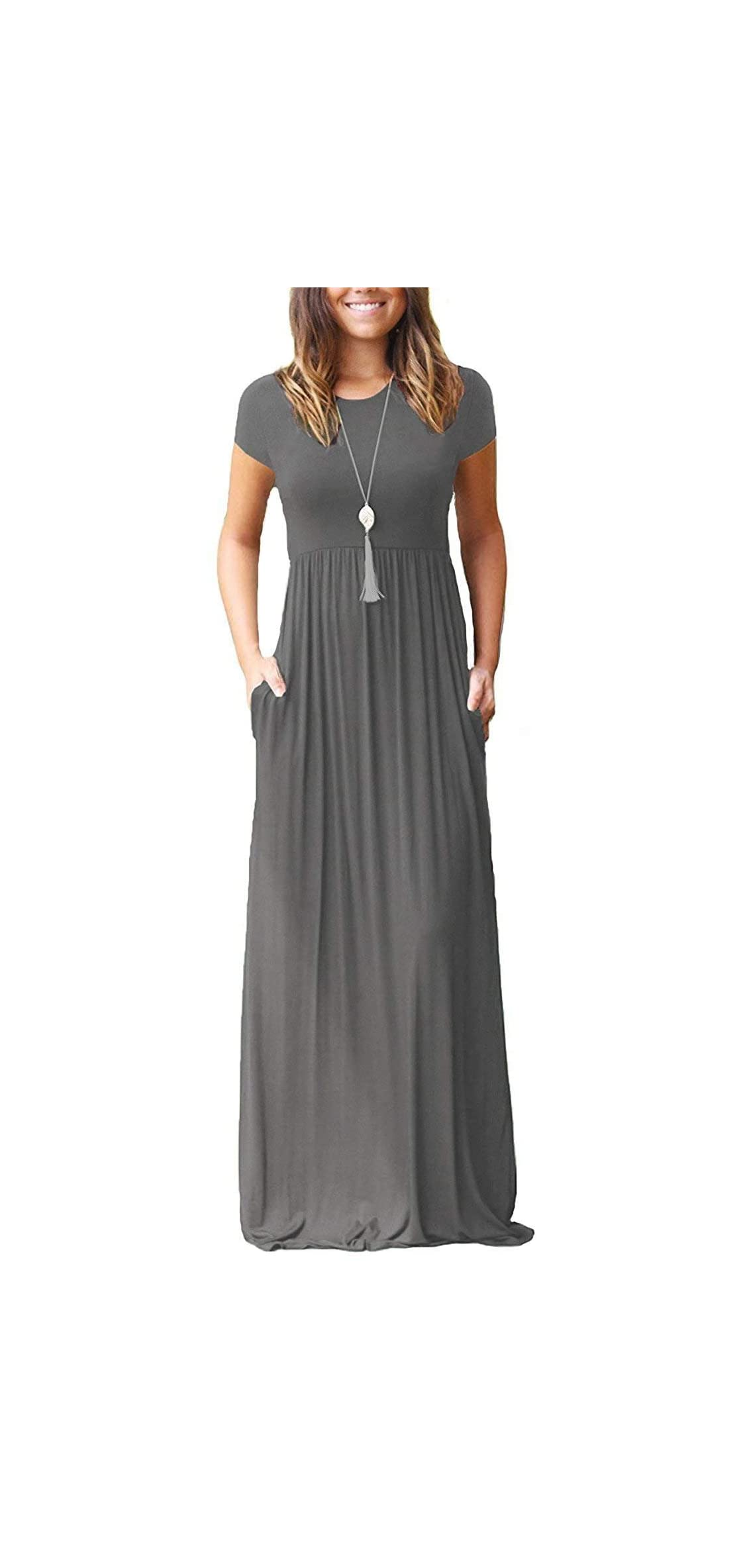 Women's Short Sleeve Loose Plain Maxi Dresses Casual