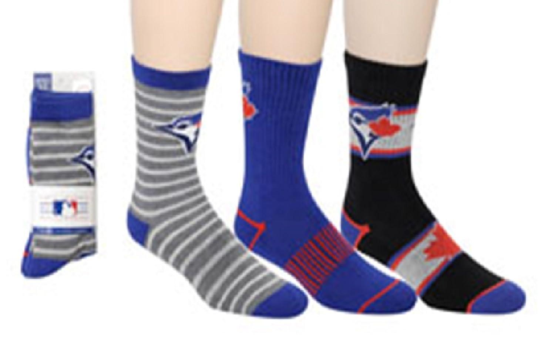 MLB Boy's Toronto Blue Jays 2016 Licensed 3-Pack Crew Socks (Shoe Size 3-6) SPORTICUS