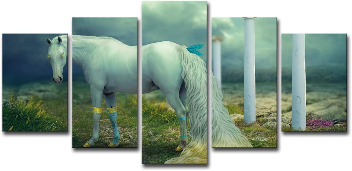 Pintura Wulian Paneles De Lienzo Pintura Decorativa De Inyección De Tinta Para Caballos Blancos S: 8X12Inch-2P 8X16Inch-2P 8X20Inch-1P Núcleo De Pintura