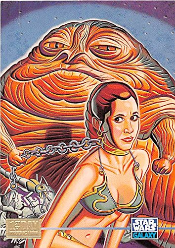 Slave Princess Leia with Jabba Hutt trading card Star Wars 1995 Topps Galaxy #341 1st Day (Jabba The Hutt Princess Leia)