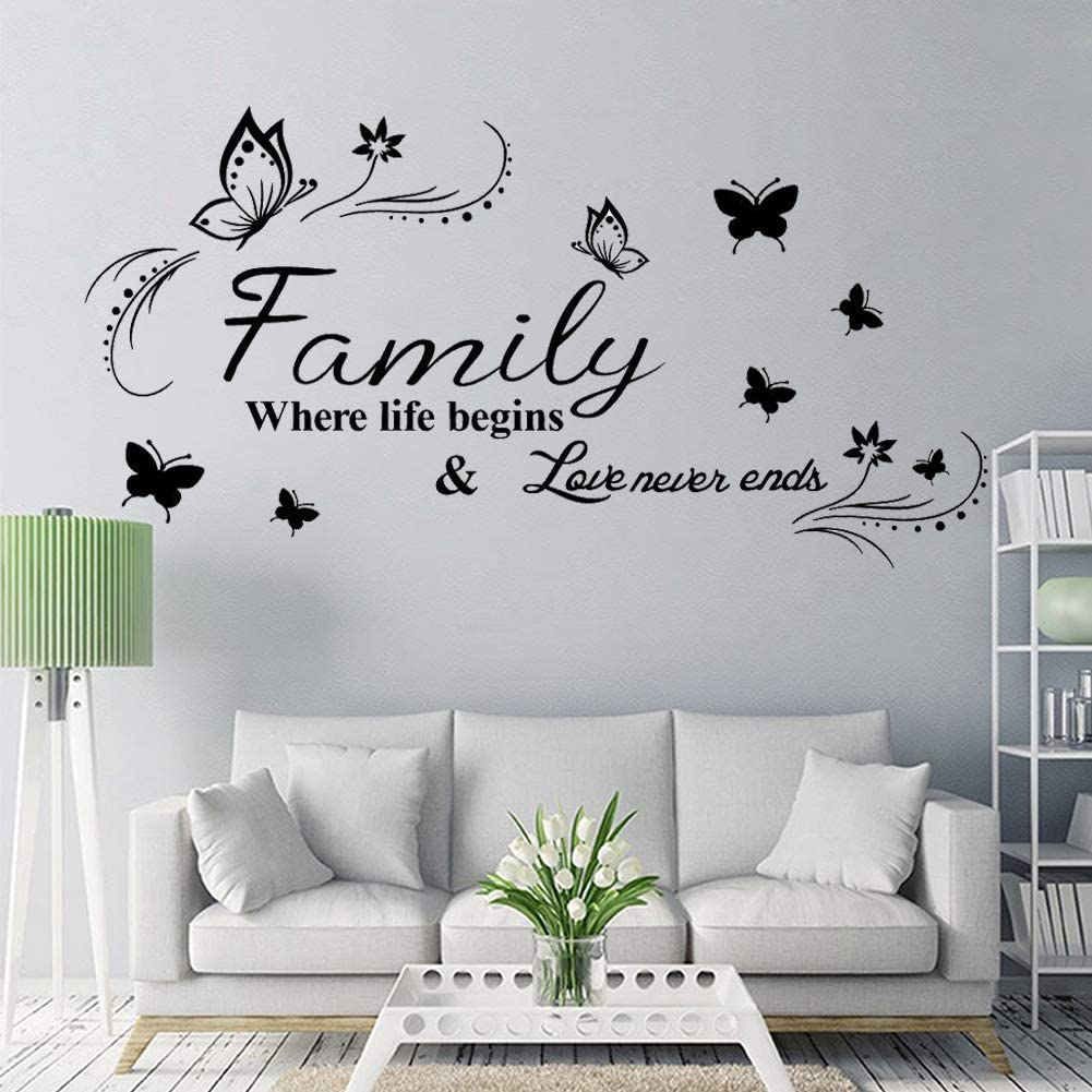 Wall Stickers Wall Decor for Living Room Bedroom Kitchen Quote- Family Where Life Begins & Love Never Ends Wall Decals Vinyl Removable Art CASADECOR.