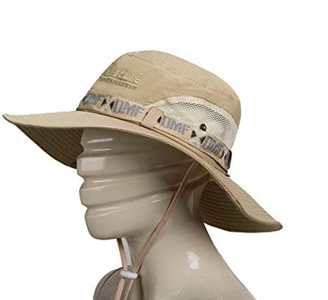 1cbcbadc2b33c Outdoor Hunting Hat Wide Brim Summer Hat Adjustable Packable Breathable  Polyester with Mesh.UPF 50 Protection for Men   Women (Khaki)  Amazon.ca   Sports   ...