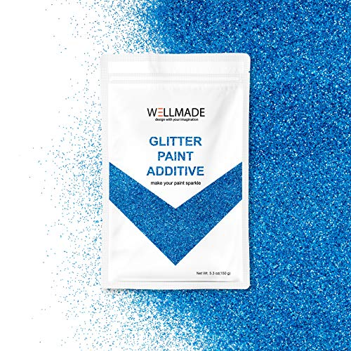 Wellmade Glitter Paint Additive for Wall Paint-Interior/Exterior Wall, Ceiling, Wood, Metal, Varnish, Dead Flat, DIY Art and Craft 150g/5.3oz (150g/1bag, Turquoise -