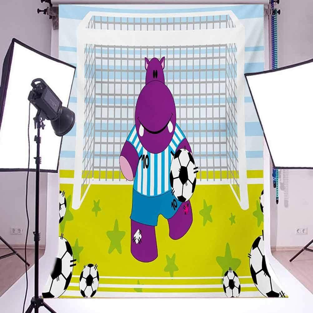 Sports 6x8 FT Backdrop Photographers,Cute Hippopotamus Soccer Goal Keeper Football Play Cartoon Print Background for Baby Birthday Party Wedding Vinyl Studio Props Photography Green Baby Blue Purple
