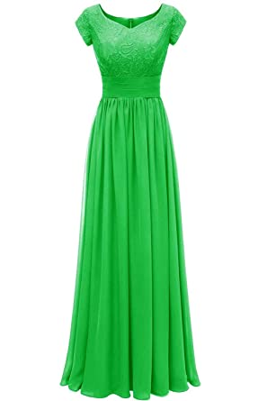 f6157eb223c DINGZAN Chiffon Evening Formal Dresses Bridesmaid Gowns Long with Sleeve 2  Apple Green