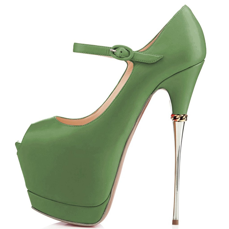 YDN Women Peep Toe Sky High Heels Platform Pumps Ankle Straps Shoes Metal Stilettos B01CEIHFP8 10 M US Green-pu