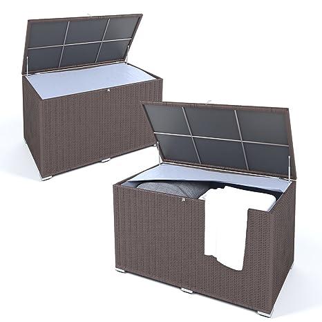 Gut bekannt OSKAR XXL Kissenbox wasserdicht Polyrattan 950L Braun Auflagenbox UJ11