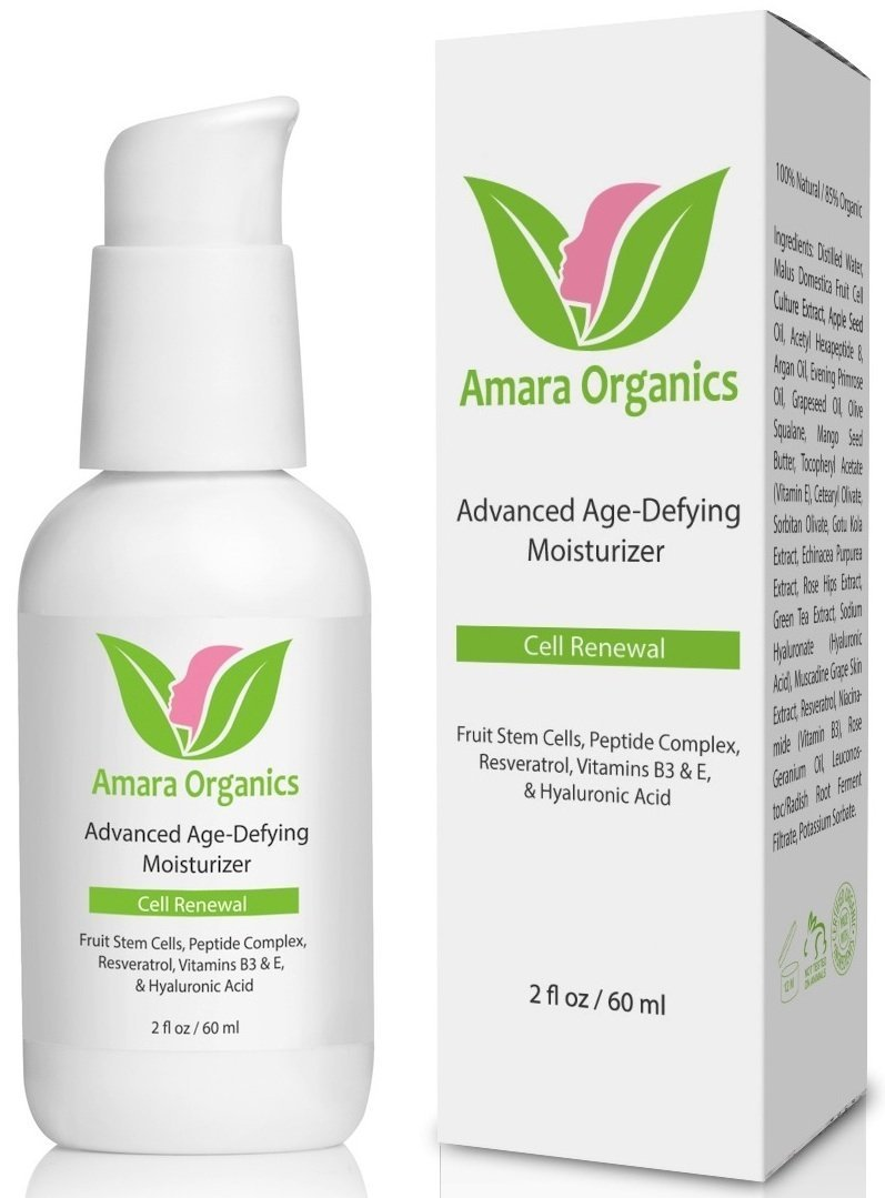 Amara Organics Anti Aging Face Cream Moisturizer with Resveratrol & Peptides, 2 fl. oz.