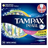 Tampax Pearl Plastic Tampons, Light/Regular/Super Absorbency Multipack, Scented, 34 Count - Pack of 6 (204 Total Count)
