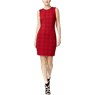 0752a3fecea Calvin Klein Womens Textured Plaid Wear to Work Dress Red 12 at ...