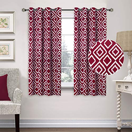 Flamingo P Blackout Curtains Ikat Fret Burgundy Red Curtain Drapes Pair for Bedroom Thermal Insulated Energy Saving Drapes for Living/Kids Room 63 Inch Window Curtain, Grommet Top