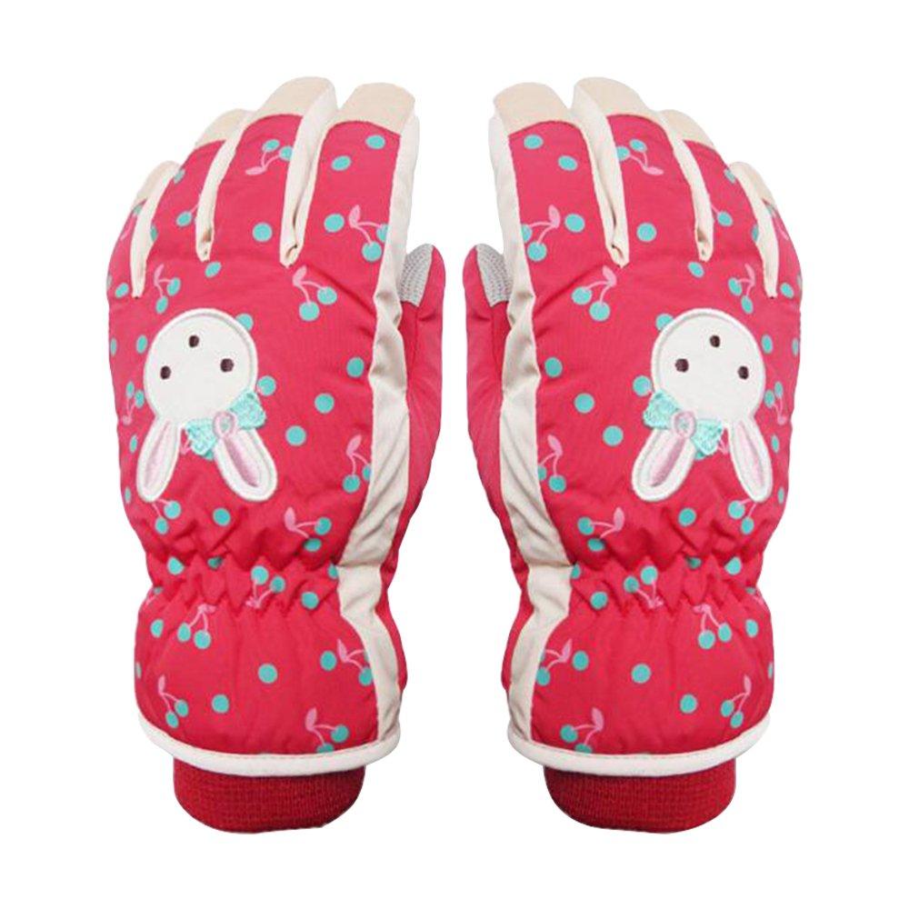 Eastlion Cartoon Pattern Girl Ski Gloves Sweet And Lovely Windproof Waterproof Warm Gloves