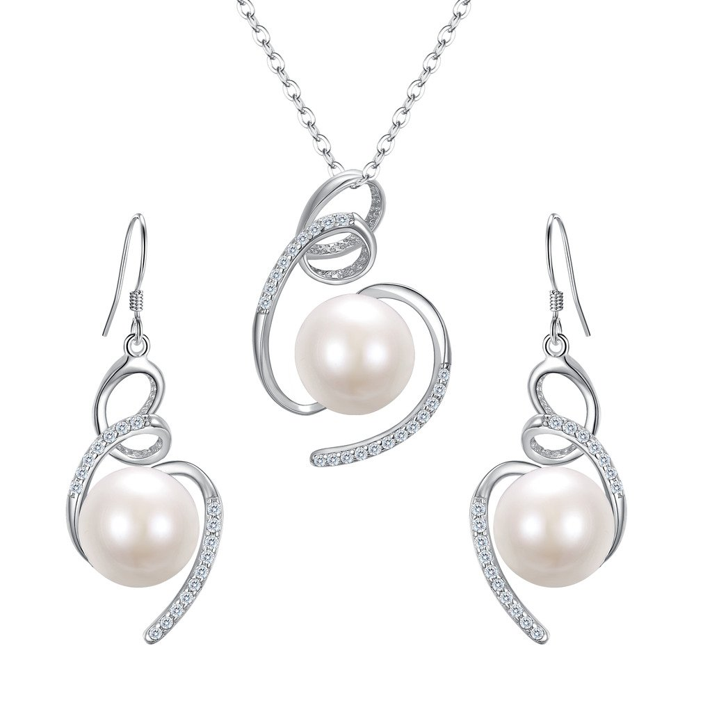 BriLove 925 Sterling Silver Freshwater Cultured Pearl Necklace Earrings Jewelry Set for Women CZ Ribbon Swirl Pendant Necklace Hook Dangle Earrings Set