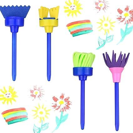 Learning & Education 4pcs Diy Flower Paint Drawing Sponge Brushes Rotate Spin Educational Toy Kids Sponge Art Graffiti Brushes Painting Tool