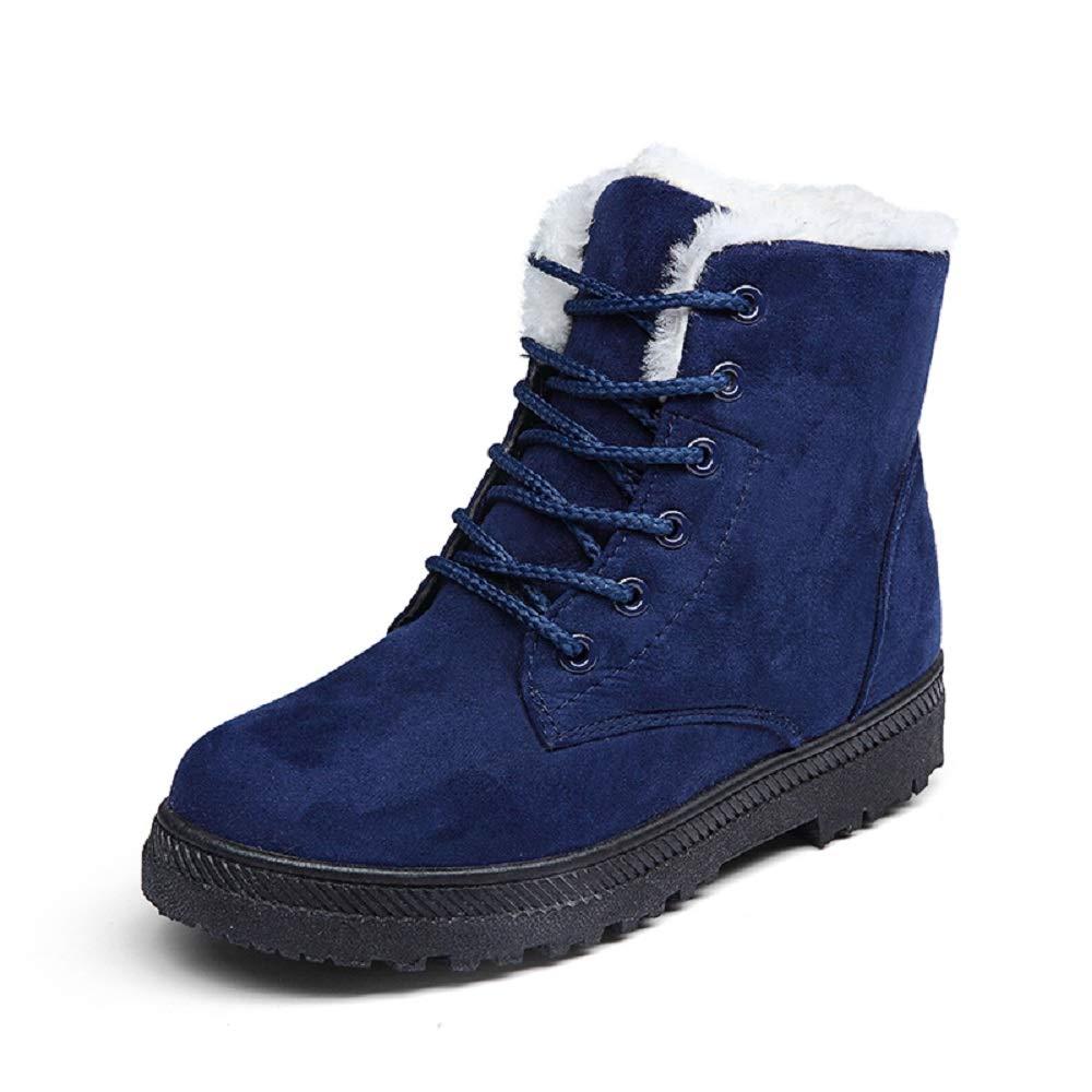 Bottine Femme Boots Hiver Fourrure Neige Chaudes Daim Chaudes Lacets Taille Montante Cheville Plates Coton Bottes Grande Taille Boots Rouge Marron Bleu 35-43 Bleu-2 96fe69f - deadsea.space