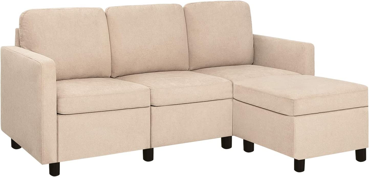Pawnova Convertible Sectional Sofa Couch L-Shaped Settee with Soft Seat, Comfortable Backrest and Modern Linen Fabric for Small Space, Living Room, Beige
