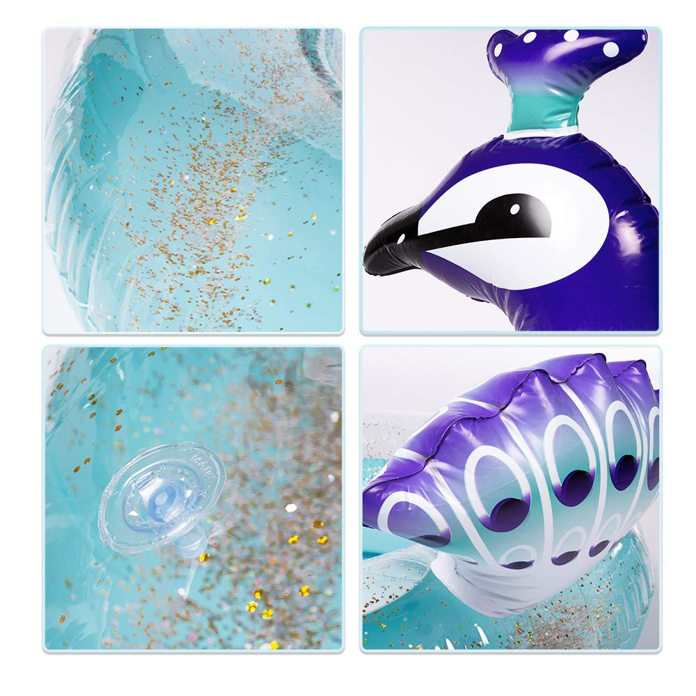 WISHTIME Giant Peacock Swim Pool Float 2019 Summer Peacock Inflatable Pool Float with Glitters Swim Ring Inflatable Lounge Raft Tube Summer Toys for Kids