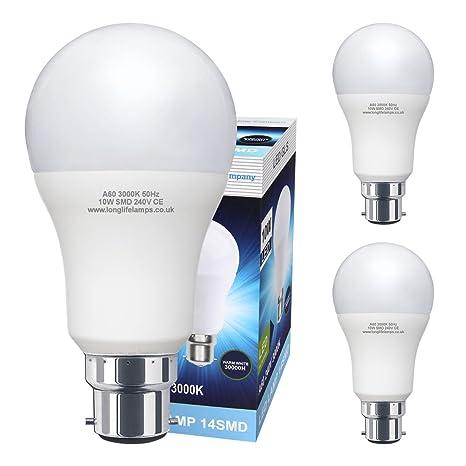 Long Life Lamp Company – Juego de 3 bombillas LED, casquillo de bayoneta, B22