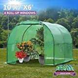 Artist Hand 10' x 7' x 6' Size 4 Roll-Up Windows Walk-In Greenhouse Portable Outdoor Plant Gardening Greenhouse