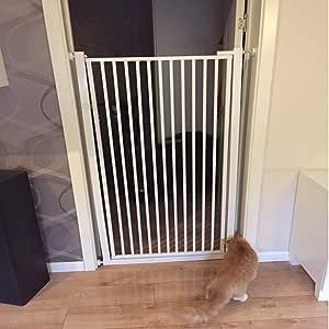 Barrera seguridad Portones altos de gato de 100 cm con puerta, compuertas de seguridad montadas a presión blancas para escaleras Pasillo interior, 70-120 cm de ancho Barandilla resistente a los golpes: Amazon.es: