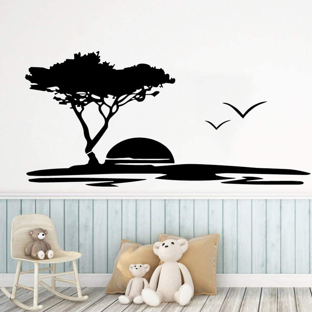 Yaonuli Creative Sunset Scenery Removable Wall Sticker For Living Room Art Decoration Children S Room Vinyl 42x88cm Amazon Co Uk Kitchen Home