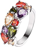 Silver Angel Gemstone Ring Morganite Garnet Amethyst Peridot for Women, Girl 6 7 8 9 10