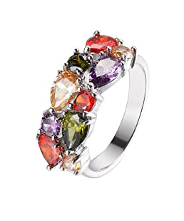 Gemstone Ring Morganite Garnet Amethyst Peridot 925 Silver Band for women, girl (7)