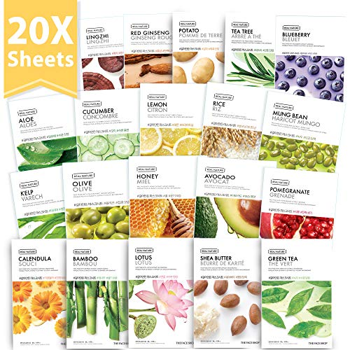 ([THEFACESHOP] Korean Facial Mask Sheets, Real Nature Full Face Masks Peel Off Disposable Sheet - 20 Masks)