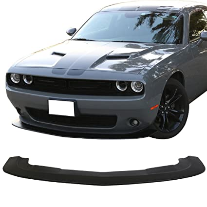 Front Bumper Lip Compatible With 2015-2018 Dodge Challenger | SXT Style  Black PP Bump Lower Body Protection Avoid Against Collision by IKON