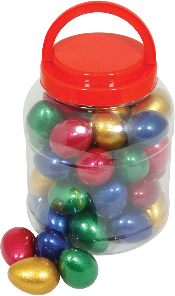 Percussion Workshop Tub of 40 Egg Shakers in Sparkle Mixed Colours inch OSC95-40TUB by Percussion Workshop