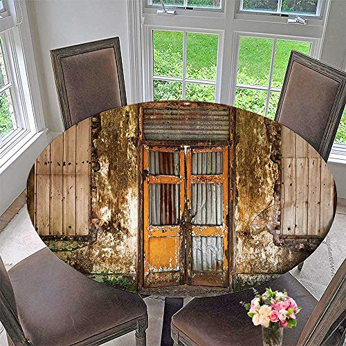 Round Tablecloths Shabby House with Boarded Up Rusty Doors and Mold Windows Multi or Everyday Dinner, Parties 67