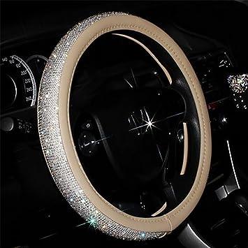 Sparkle Glitter Bling Crystal Diamante Coprivolante Auto Antiscivolo Accessori di Protezione 38 cm//15 Pollici,Nero Coprivolante Donna Herbests Universale Coprivolante per Auto in Pelle
