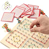 ZaxiDeel Wooden Geoboard Mathematical Manipulative Matrix 10x10 Learning Material, Educational Toy for Kids with Rubber…
