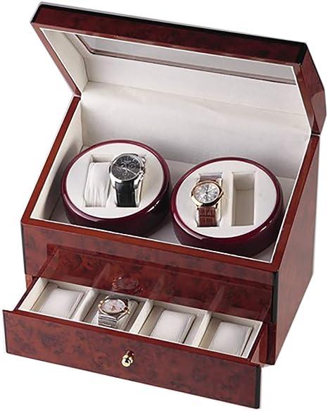 LOKKRG Cajas giratoriasde Reloj para 4 Relojes, Caja de enrollador de Reloj automático de Madera Natural con 4 Cajas de Almacenamiento: Amazon.es: Deportes y aire libre