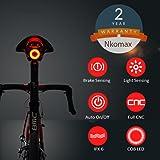 Nkomax Luz de Cola para Bicicleta Inteligente Ultra Brillante, luz de Bicicleta Recargable, Encendido/Apagado automático, Luces de Bicicleta LED Impermeables IPX6 (Black)