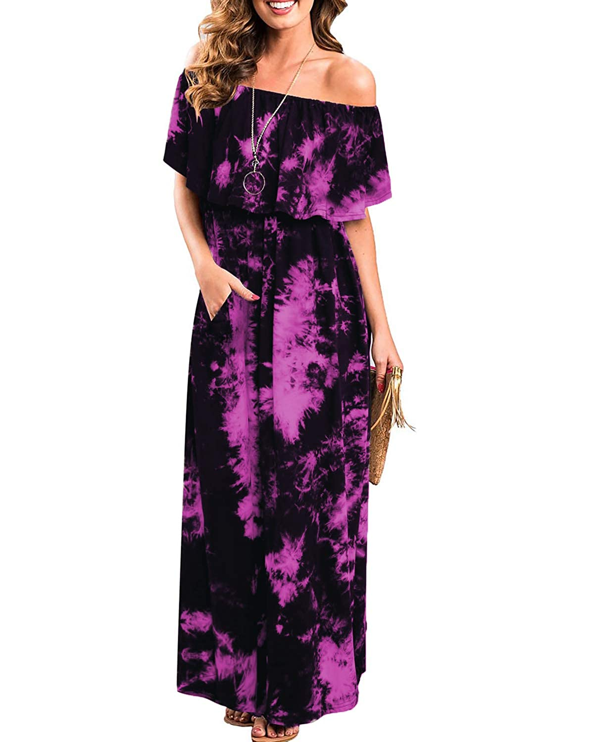 BIUBIU Women Off The Shoulder Ruffle Party Dresses Tie Dye Split Maxi Long Dress